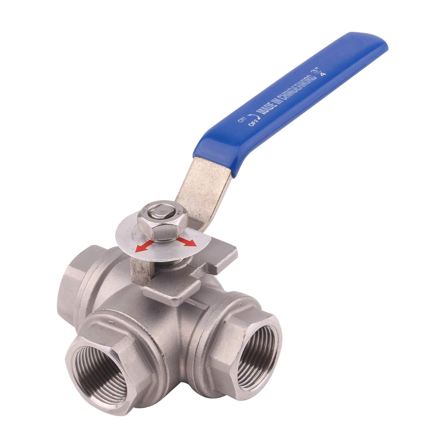 Dernord 3-Way Ball Valve L Mounting Pad Stainless Steel 304 Female Type with Vinyl Locking Handle 3//4 Inch NPT