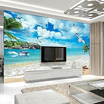 Wongxl 3D Vistas De La Playa Sala De Estar Sofá Fondo De Pantalla ...