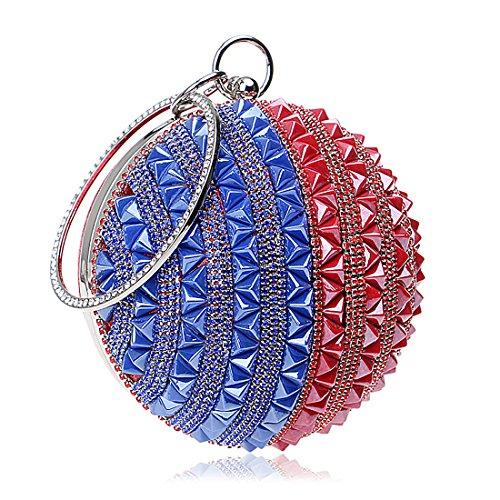 IBELLA Woman Round Ball Clutch Handbag Rhinestone Ring Handle Purse Evening Bag (Blue and Red) ()