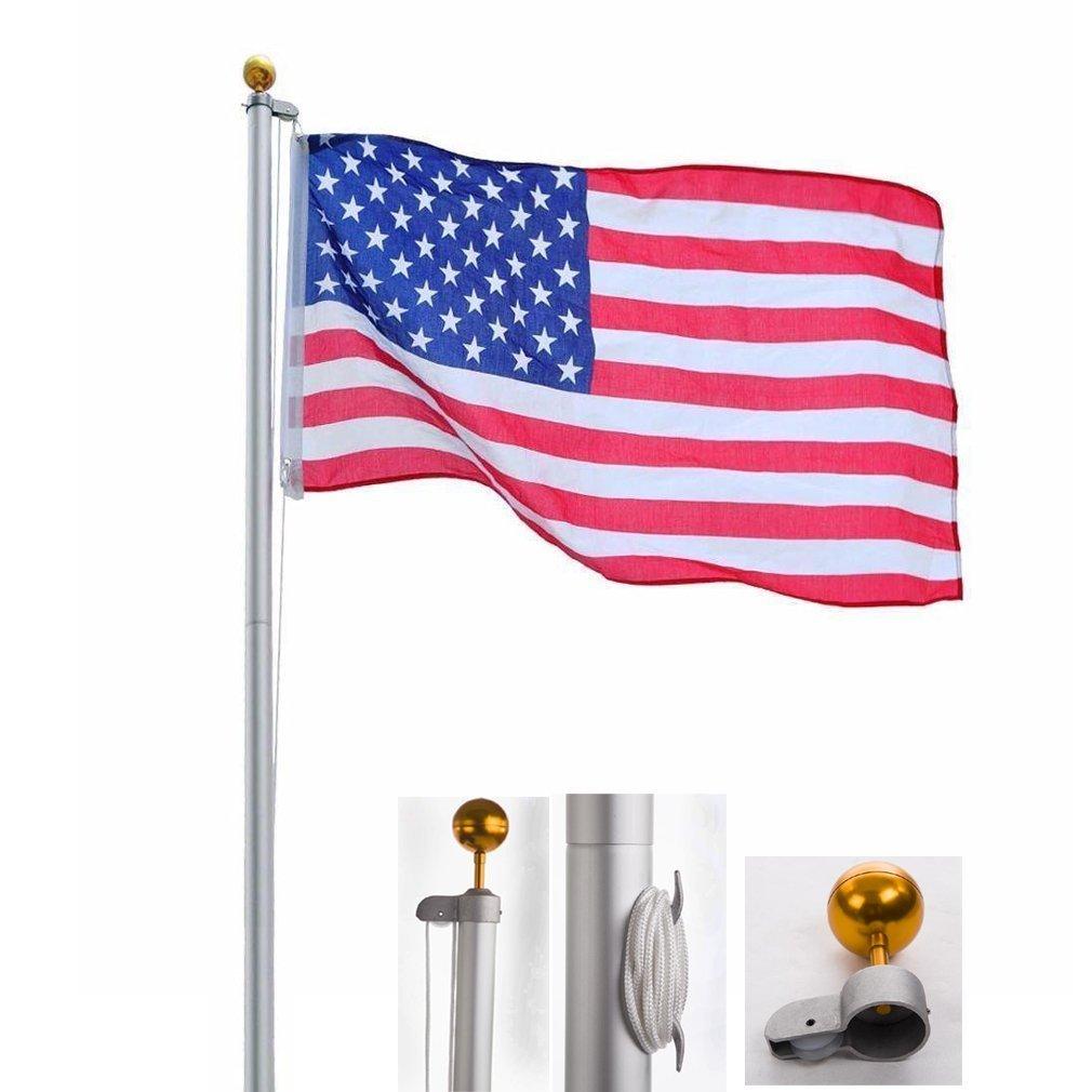 25FT Sectional Aluminum flagpole US American 3x5 Flag Pole Gold Ball Kit