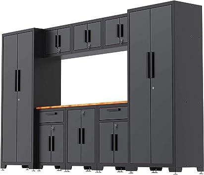 Torin Gztc30232012 Garage Storage Cabinet Combo Set With Wood Work Top Black Gray