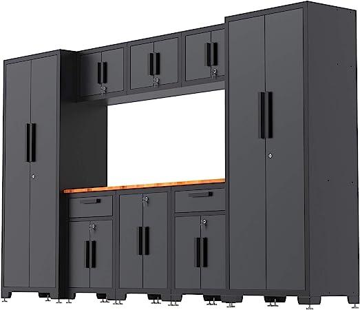 Torin Garage Workshop Tool Organizer Storage Cabinets: 9 Piece Set with Lockers, Shelves and Wood Worktop