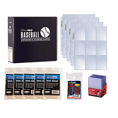 Ultra Pro Baseball Card Collector Starter Kit – Black Album, 9 Pocket Pages, Sleeves, Top Loaders & Mini Snap Holders: Sports & Outdoors