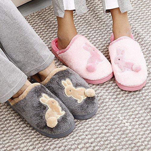 Inverno fankou pantofole di cotone borse con pavimentazione da interno mute giovane home scarpe caldo, 38-39 metri [per 37-38 metri], grigio