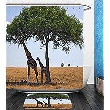 Beshowereb Bath Suit: Showercurtain Bathrug Bathtowel Handtowel Safari Decor Collection Baby and Mom Giraffe under the Tree the Tallest Animal Mammal in Savannahs Nature Art Photo Multi