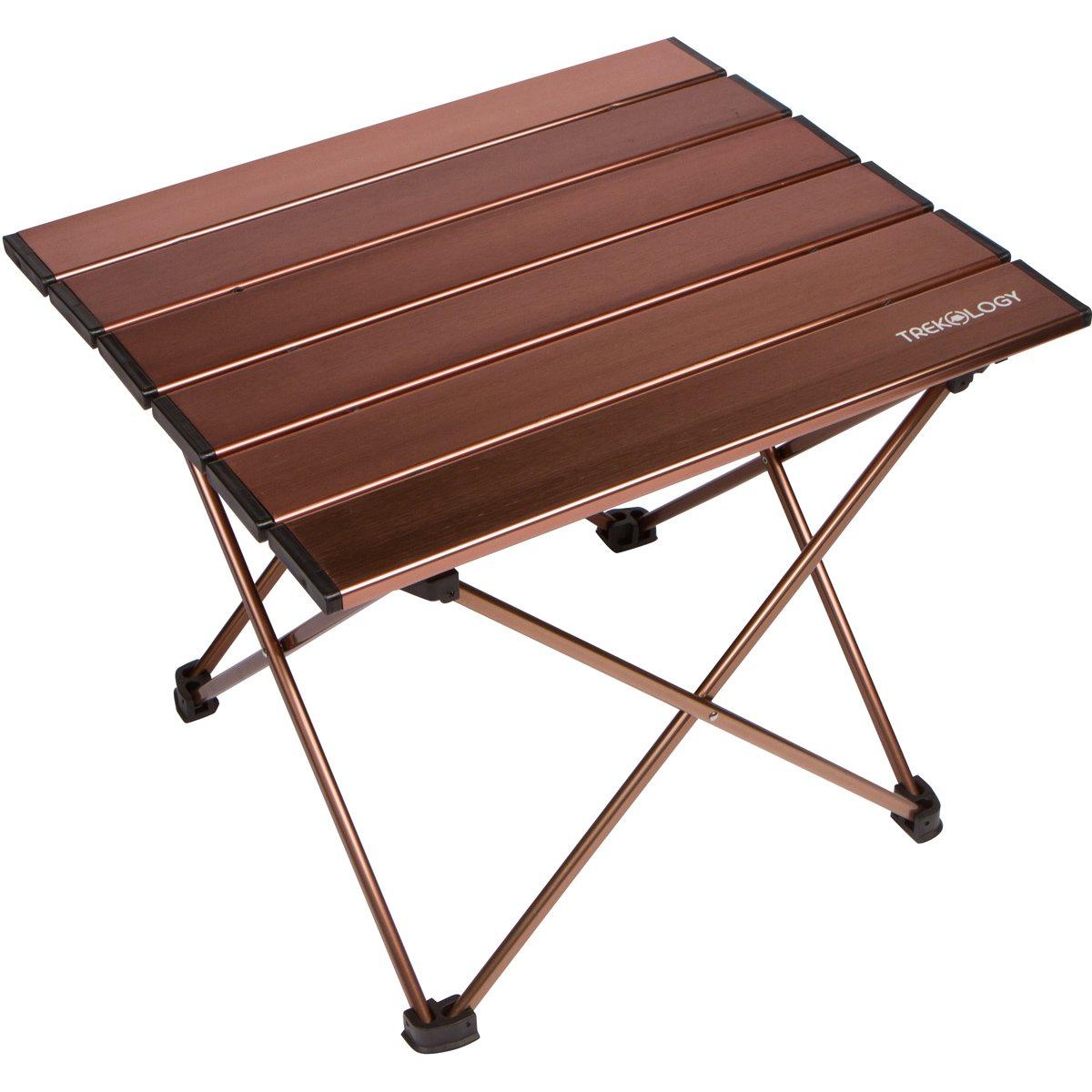 Trekologyポータブルキャンプテーブルwithアルミニウムテーブルトップ、hard-topped折り畳みテーブルバッグでのピクニック、キャンプ、ビーチ、ボート、ダイニングに便利です& Cooking with Burner、簡単に掃除 B01HJ234C2 Large|ブラウン ブラウン Large
