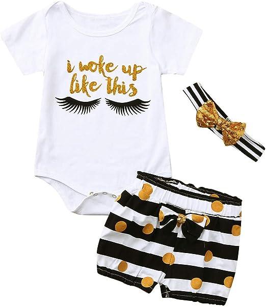 TWIFER 2PCS Ropa Bebé Niñas Niños Manga Corta Lindo Bebé Body Trajes Stripe Pantalones Cortos +Cinta de Pelo de Bowknot CóModo 0-24 Meses: Amazon.es: Ropa y accesorios