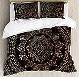 ALAGO Mala Beddings Twin, Eastern Tribe Themed Circular Flower Ornamental Meditation Symbol, 4 Pieces Duvet Cover Set Decorative Bedspread for Childrens/Kids/Teens/Adults, Dark Pine Green Mustard