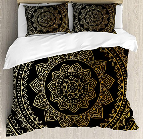 Mandala Bedding Comforter Set,4 Piece Duvet Cover Set with Zipper Closure,Eastern Tribe Themed Circular Flower Ornamental Meditation Symbol Bedspread,Dark Pine Green and Mustard Twin Size by Queen Area(TM