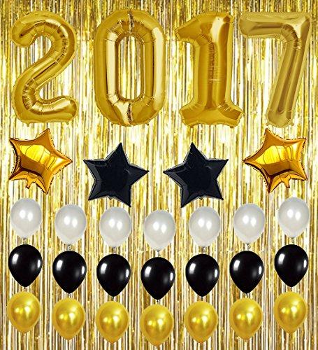 Moon Boat 2017 Graduation Balloons Decorations Grad Gold Foil Latex Metallic Fringe Curtains - Party Supplies Ornaments