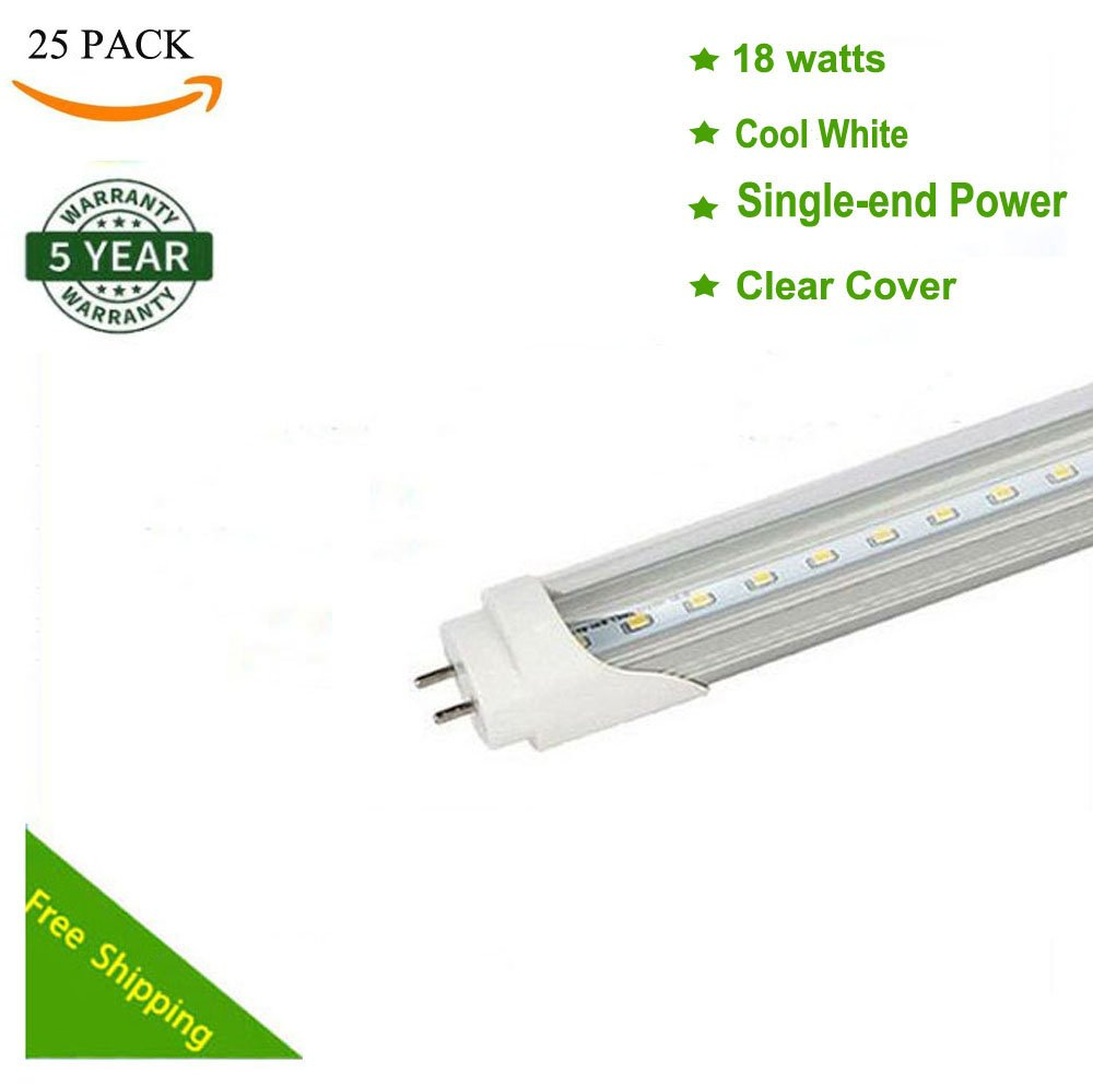 25pcs 18W G13 4ft 6500K Single-End Power Bright Cool White 110V-240V T8 LED Tube Bulb Light Lamp Works without ballast and starter (Clear)