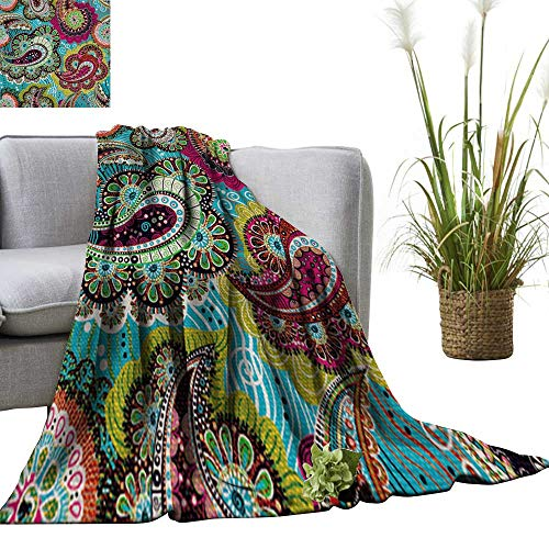 (YOYI Comfortable Blanket Colorful Paisley Seamless Pattern Blue,Pink Wallpaper Cozy Hypoallergenic 50