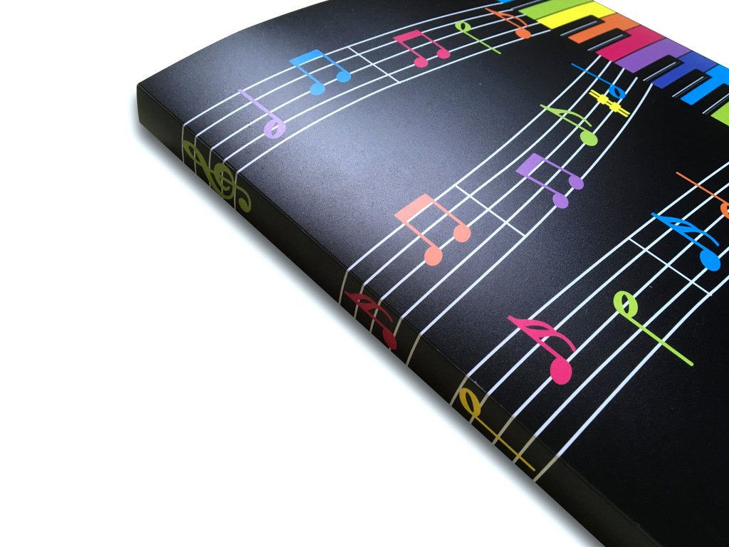 design con tastiera colorata Cartellina organizer a tema musicale con 20/tasche in plastica con copertina morbida
