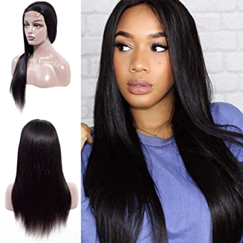 Amazon.com   Halo Lady Straight Lace Front Virgin Human Hair Wig for Women  Soft Smooth 4X4 Lace Front Wig Elastic Straps Comfortable Adjustable  Natural ... 74a11463c7