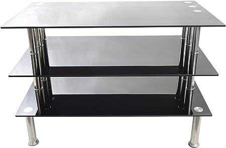 Nuevo color negro para TV hasta 127 cm Plasma LCD LED de 3 estantes de 90 cm de ancho 61 cm de altura: Amazon.es: Hogar