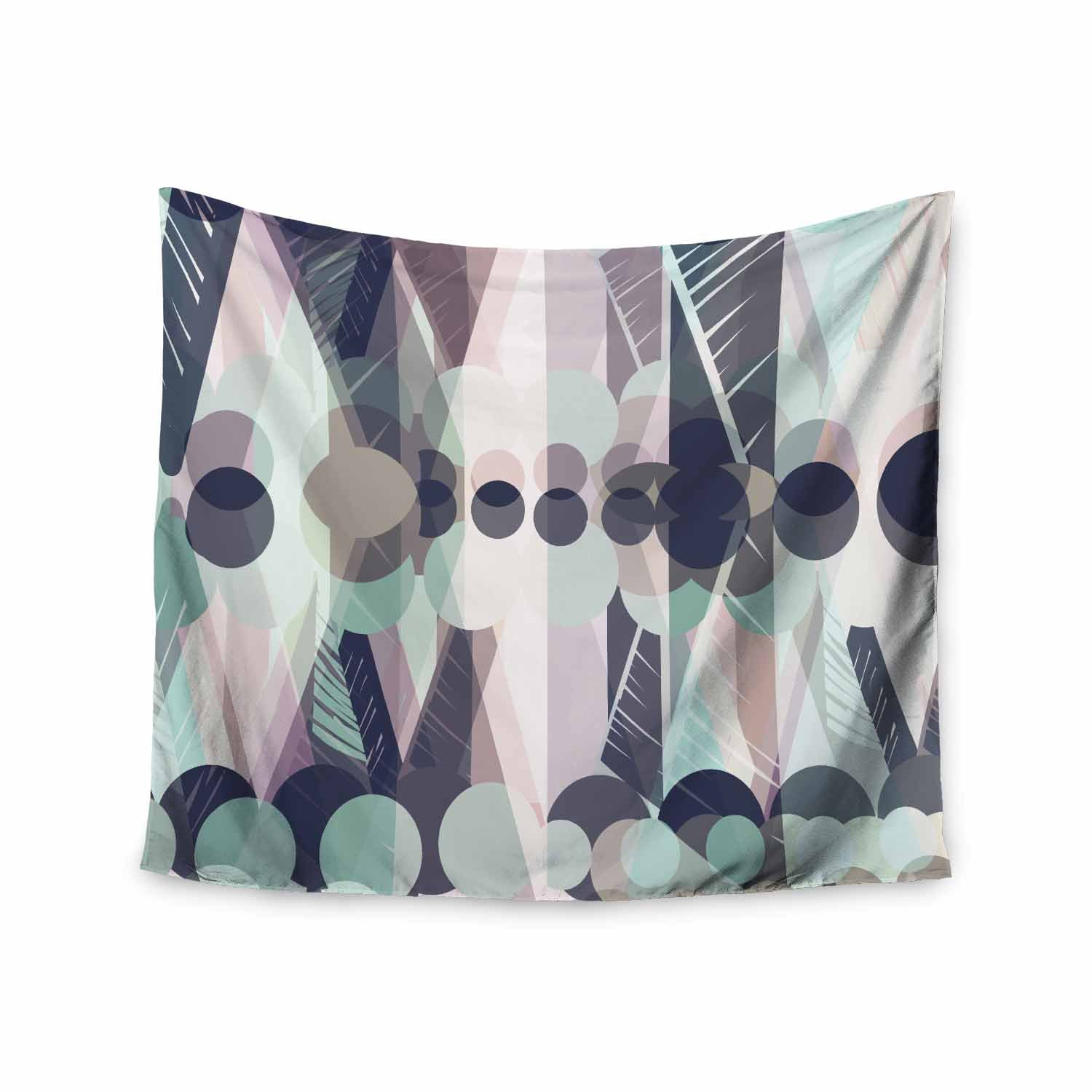 Kess InHouse Victoria Krupp Chunky Geo Multicolor Pastel Vector 68 x 80 Wall Tapestry