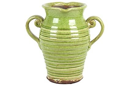 Amazon Urban Trends Ceramic Tuscan Vase With 2 Handles Ribbed