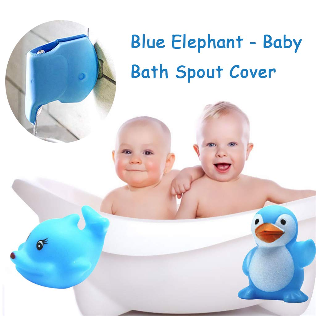Molisell Bath Spout Cover - Faucet Cover Baby - Tub Spout Cover - Bathtub Faucet Cover for Kids - Tub Faucet Protector for Baby -Silicone Spout Cover Blue Elephant - Kids Bathroom Accessories by Molisell