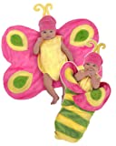 Princess Paradise Unisex Swaddle Wings Butterfly, Pink/Yellow/Green, 0/3 Months