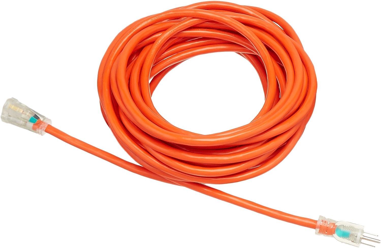 AmazonBasics 12/3 SJTW Heavy-Duty Lighted Extension Cord, Set of 4 - 50 Feet, Orange