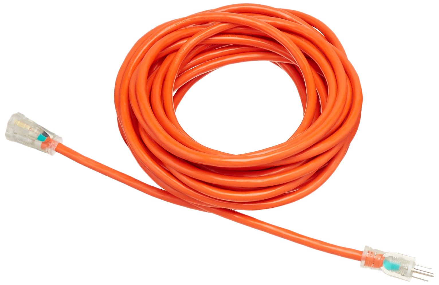 AmazonBasics 12/3 SJTW Heavy-Duty Lighted Extension Cord - 50 Feet (Orange)