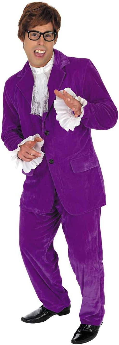 M 60s Gigolo Purple Fun Shack  Mens 60s Movie Gigolo Costume Adults Man Of Mystery Purple Suit Outfit