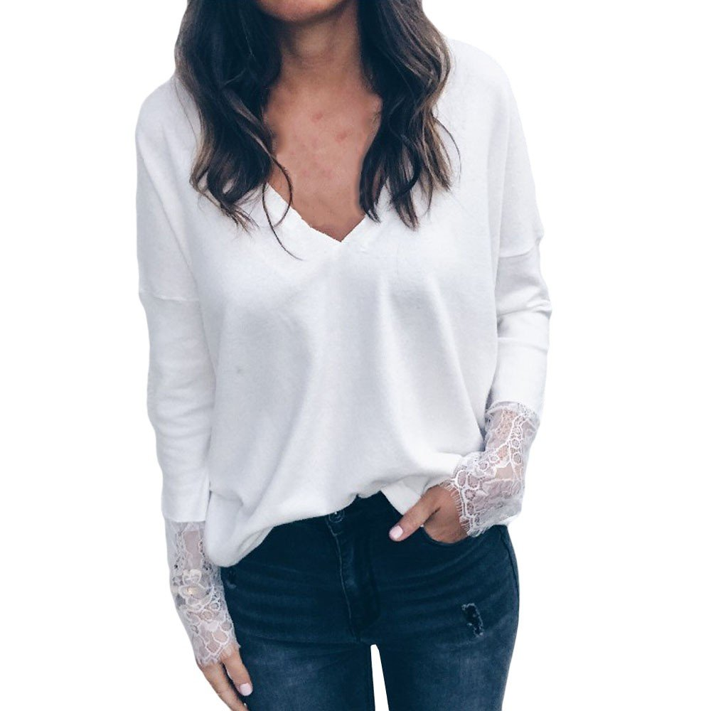 Blouse For Women-Clearance Sale, Farjing Fashion Solid Long Lace Sleeve V-Neck Blouse Loose Pullover Top