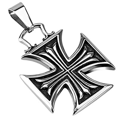 Urban Hq Stainless Steel Maltese Cross With Celtic Cross Design