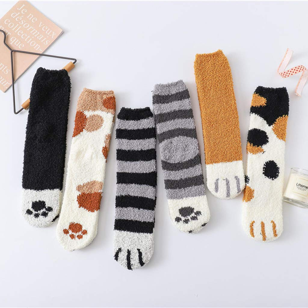 Unisex Calze di Felpa di Stampa Zampa di Gatto e Socks Stampa Cucciolo Calzini in Cotone Casual Calze di Stai al Caldo LIGESAY Calze Medie di Cotone