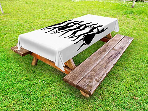 Lunarable Dance Outdoor Tablecloth, Silhouette of Group of People in Late 1950s Early 1960s Fashion Dancing Conga Line, Decorative Washable Picnic Table Cloth, 58 X 120 Inches, Black White