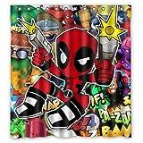 Cute X Men Deadpool Custom Unique Waterproof Shower Curtain Bathroom Curtains 66x72 inches