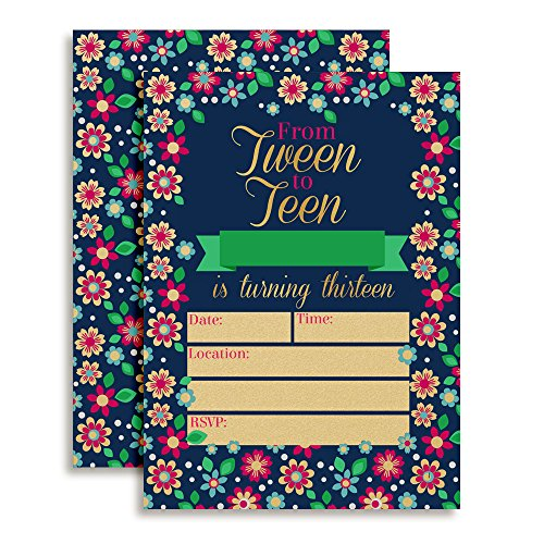 Bunches of Flowers From Tween to Teen 13th Birthday Party Invitations for Girls, 20 5