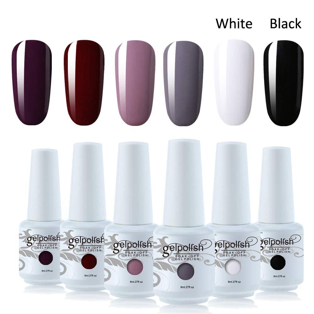 Amazon Com Vishine Gel Nail Polish Gift Set Dark Red White Black