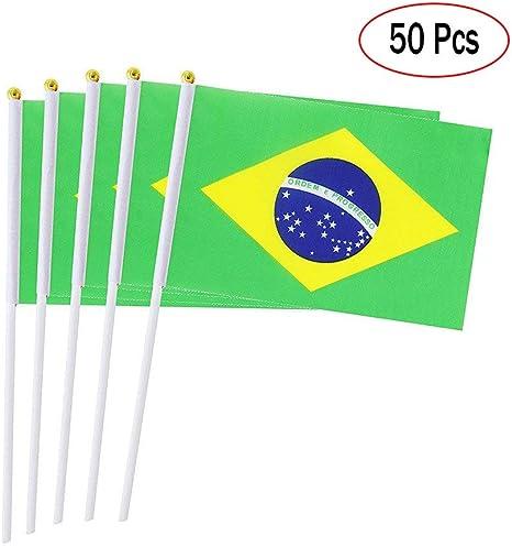 Banderas de Mano Paises Brasil, Mini Banderas pequeñas de 14 x ...