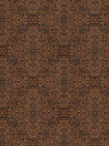 Twilight Blue Gold Burgundy Medallion Wovens Upholstery Fabric by the yard