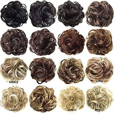 FESHFEN Scrunchy Scrunchie Hair Bun Updo Hairpiece Hair Ribbon Ponytail Extensions Hair Extensions Wavy Curly Messy Hair Bun Extensions Donut Hair Chignons Hair Piece Wig Jet Black Scrunchie