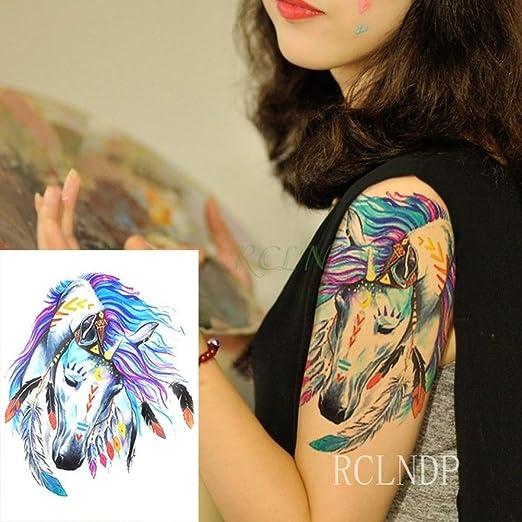 Handaxian 3 Piezas Tatuaje de Flor de Pavo Real Tatuaje Fresco ...
