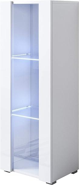 muebles bonitos Vitrina Modelo Luke V2 (40x128cm) Color Blanco con Patas estándar