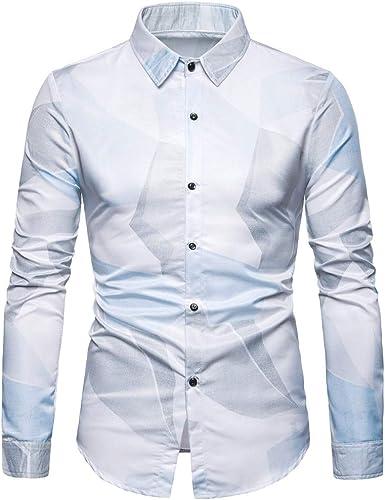 Overdose Camisas Hombre Slim fit Ralph Moda Hombre Casual Impreso Floral Botón de Manga Larga Camiseta Top Blusa: Amazon.es: Ropa y accesorios