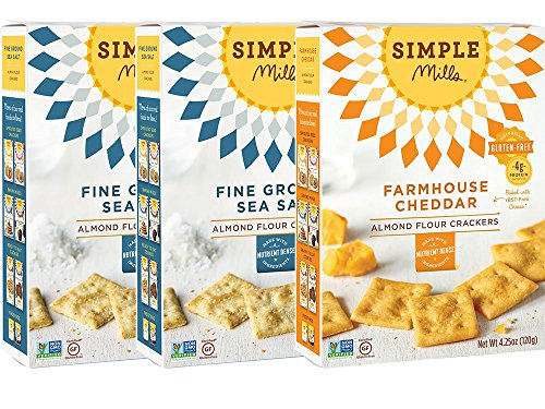 Simple Mills Almond Flour Cracker Variety Pack: (2) Fine Ground Sea Salt, (1) Farmhouse Cheddar, Naturally Gluten Free, 3 count