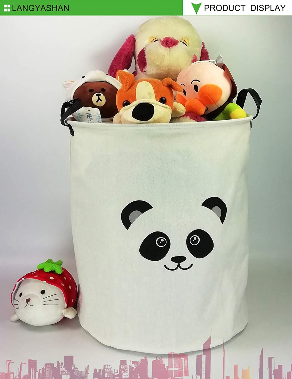 Bedroom Clothes,Baby Nursery LANGYASHAN Storage Bin,Canvas Fabric Collapsible Organizer Basket for Laundry Hamper,Toy Bins,Gift Baskets Panda