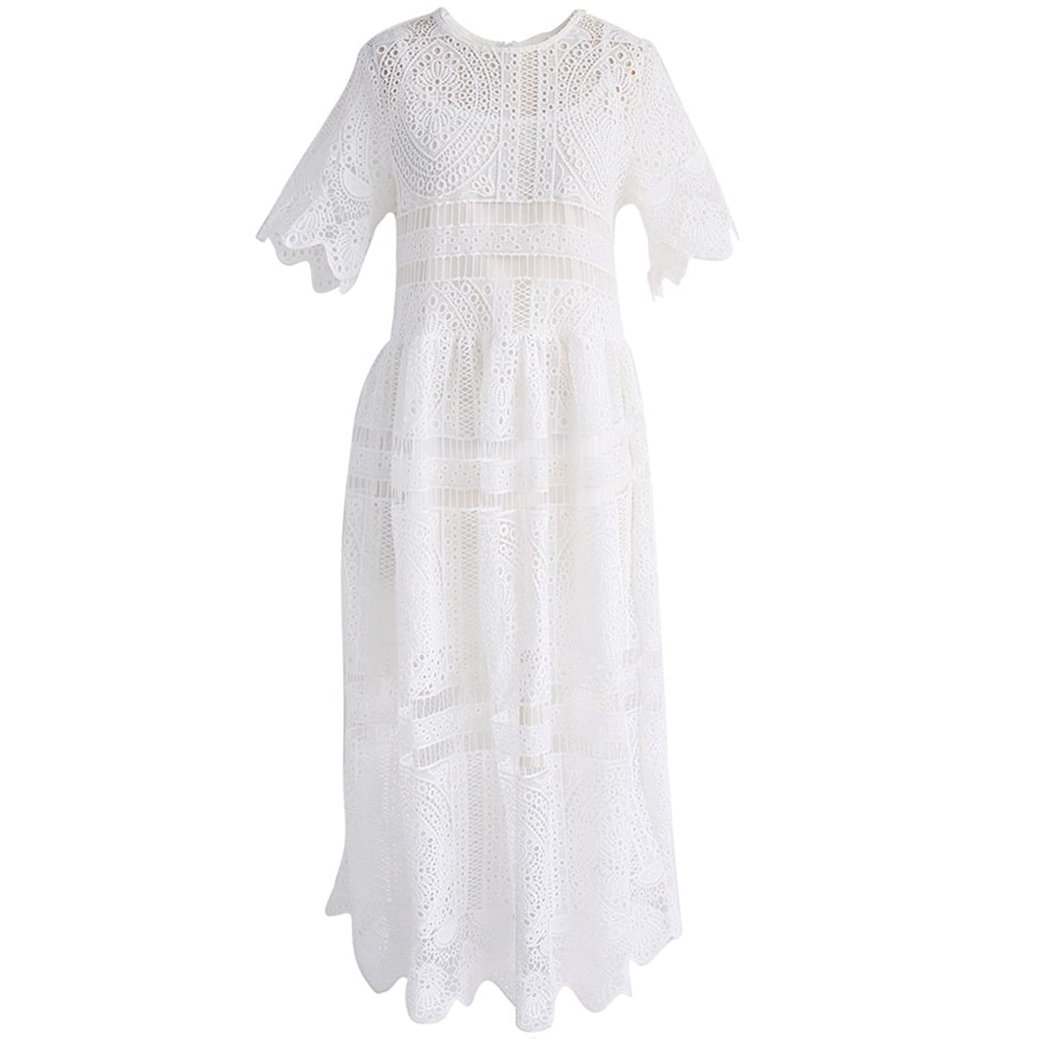1920s Style Dresses, Flapper Dresses  Short Sleeves Round Neckline Lace Crochet Eyelet Midi Dress $59.93 AT vintagedancer.com