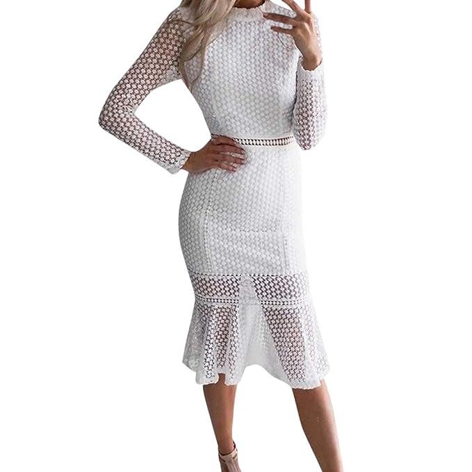 best sneakers aa598 32a13 HWTOP Kleider Damen Elegant Langarm Minikleid Knielang Retro ...