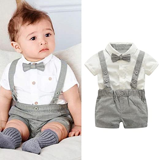 222678d0c Amazon.com  Kstare Baby Boys Outfits Gentleman Bowtie Short Sleeve ...
