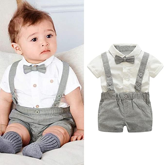 dd88d929a43 Amazon.com  Kstare Baby Boys Outfits Gentleman Bowtie Short Sleeve Shirt+ Suspenders Shorts Clothes Set  Clothing