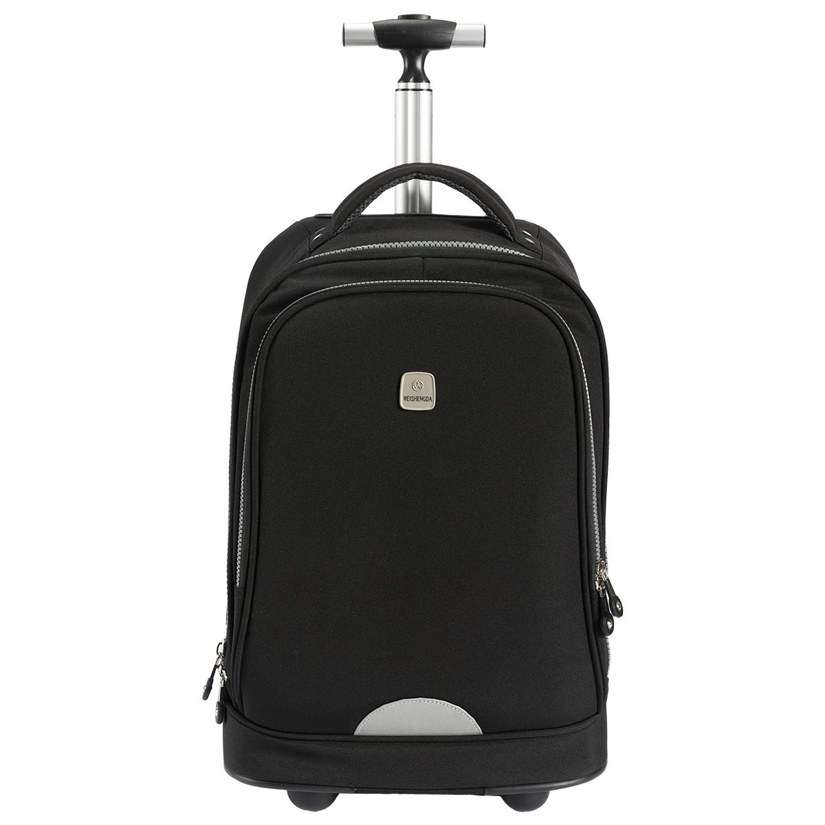 WEISHENGDA 18 inches Travel Wheeled Rolling Backpack for Business Adults and College Books Bag, Black