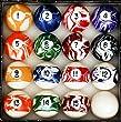 Pool Table Billiard Ball Set, Marble/Swirl Style