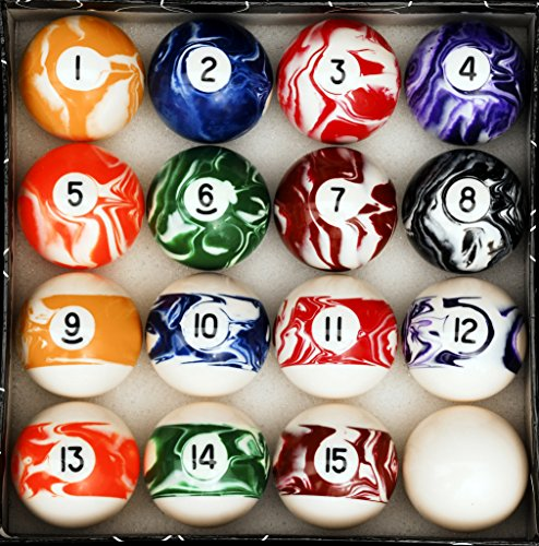 Billiard Cue Ball Glass - Iszy Billiards Pool Table Billiard Ball Set, Marble/Swirl Style