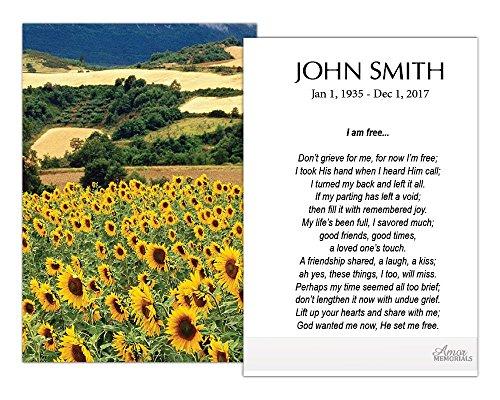 (Funeral Memorial Prayer Cards (50 Cards) FPC1011EN Sunflower field (Custom Printed - Select Desired)