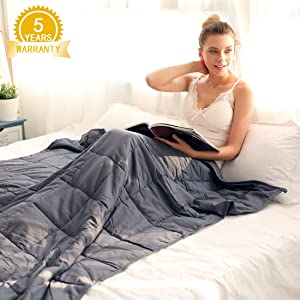 """Isilila Glass Weighted Blanket 48"""" x 72"""" 15 lbs/ 20 lbs - Full/Queen Size Cotton Provide Comfortable Sleep Quality for Kids & Adults (Grey, 48""""x72"""", 20 lbs)"""